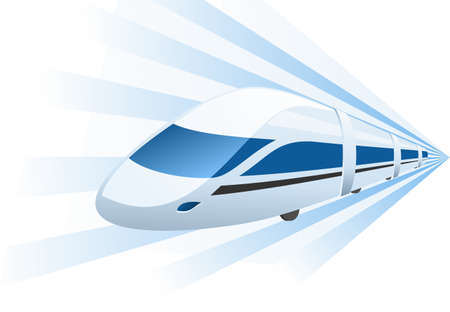 fast train speeding in motion  Vector