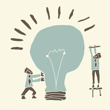 mutual help: concept  teamwork results in creating ideas