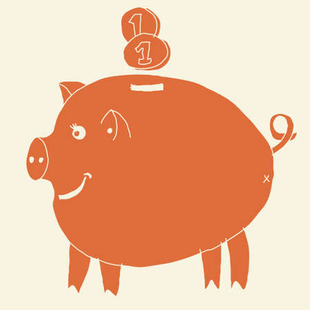 funky money pig box in retro orange  Vector