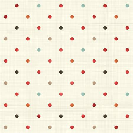 linen paper: colorful polka dot seamless pattern on fabric texture  Illustration