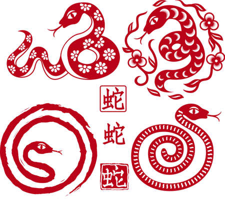 set of Chinese styled snakes as symbol of year of 2013  Vector