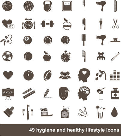 yoga icon: 49 hygiene and healthy lifestyle icons Illustration
