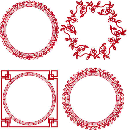 retro circles: chinese ornamental frames  Illustration