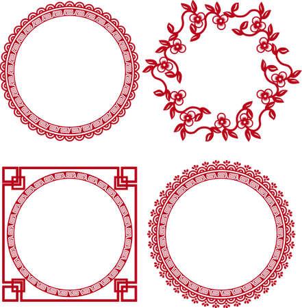 kreis: Chinesische Ornamentrahmen Illustration
