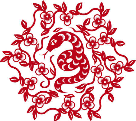 Chinese paper cut snake as symbol of year 2013 Stock Vector - 16212688