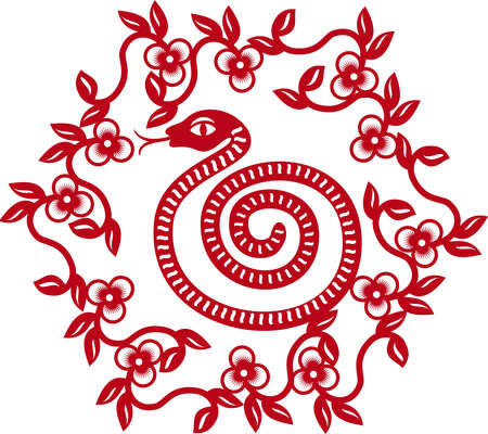 Chinese paper cut snake as symbol of year 2013  Vector