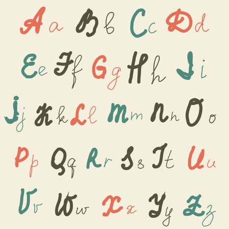 hand drawn retro alphabet in english  Stock Vector - 16212654
