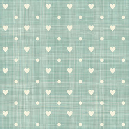 linen fabric: seamless hearts polka dot pattern with retro texture