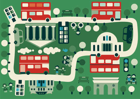 british touring car: cartoon map of London with double decker Illustration