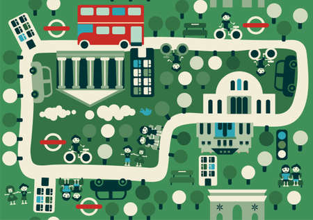 double decker bus: cartoon map of London Illustration