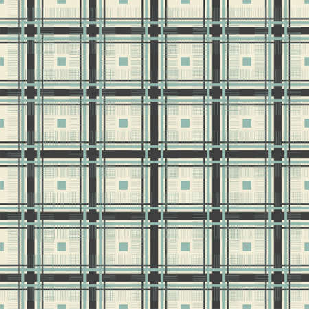 retro geometric seamless pattern in blue grey and brown Vector