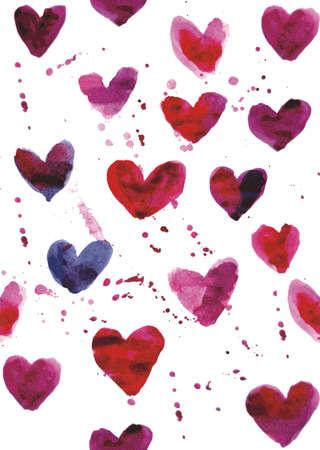 seamless heart watercolor pattern