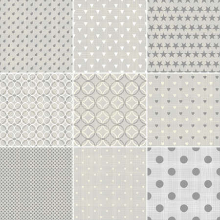set of faded blue retro polka dot seamless patterns Vector