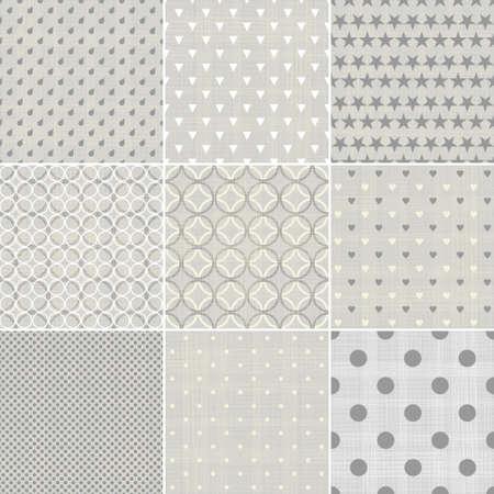 polka dot: set of faded blue retro polka dot seamless patterns