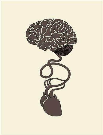 두뇌와 심장의 개념적 이미지가 함께 연결됨