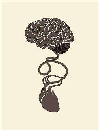 conceptual image of brain and heart connected together Vector