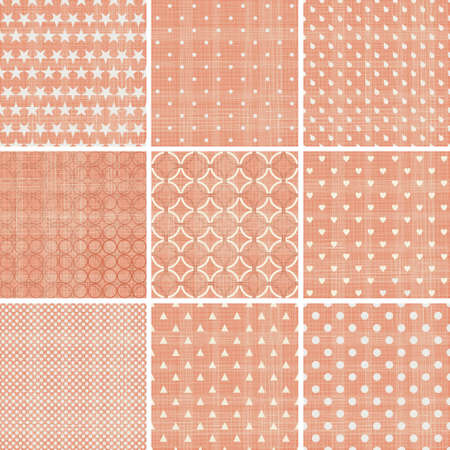 diagonal lines: set of 9 seamless polka dot patterns in pastel girly colors