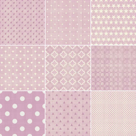 set of 9 seamless polka dot patterns in pastel girly colors Vector