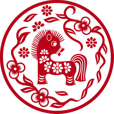 Chinese styled horse as symbol of year of 2014 red isolated on white Stock Vector - 22220833