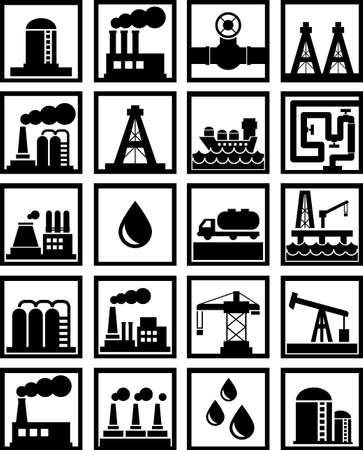 oil and gas related icons black on white Vector