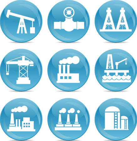 tank ship: oil and gas related icons white on blue balls