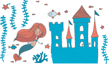 cartoon doodle illustration of a mermaid in corals with fish and an underwater castle isolated on white Vector