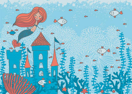 woman underwater: cartoon doodle illustration of a mermaid in corals with fish and an underwater castle with space for your text Illustration