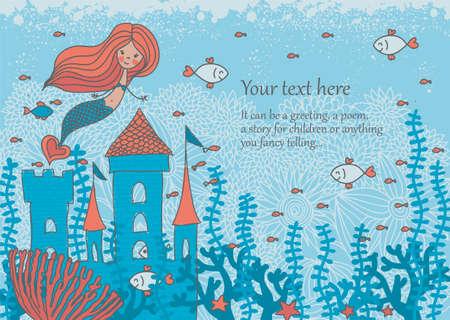 cola mujer: ilustración de dibujos animados dibujo de una sirena en corales con peces y un castillo bajo el agua con el espacio para el texto