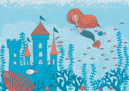 cartoon doodle illustration of a mermaid in corals with fish and an underwater castle Vector