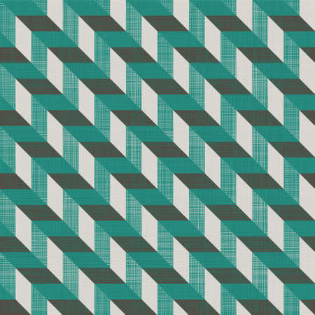 seamless retro pattern with diagonal green and grey lines and fabric background texture Vector