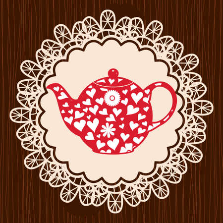 retro heart teapot on lace napkin Vector