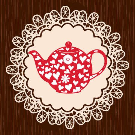 retro heart teapot on lace napkin Vector