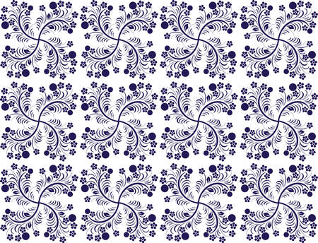 eastern European traditional seamless pattern with berries and flowers in two colours Vector