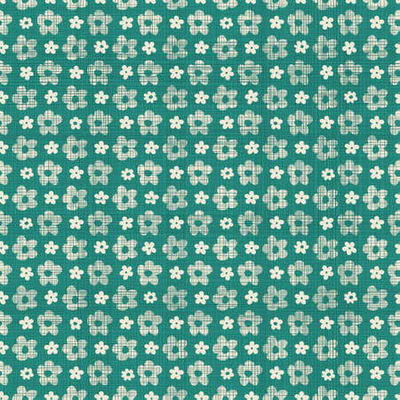 decoratively: cute geometric seamless pattern with fabric texture effect in retro green Illustration