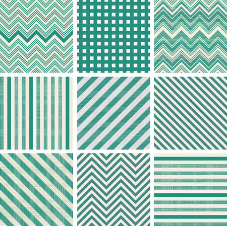 set of retro turquoise and faded grey seamless patterns Vector