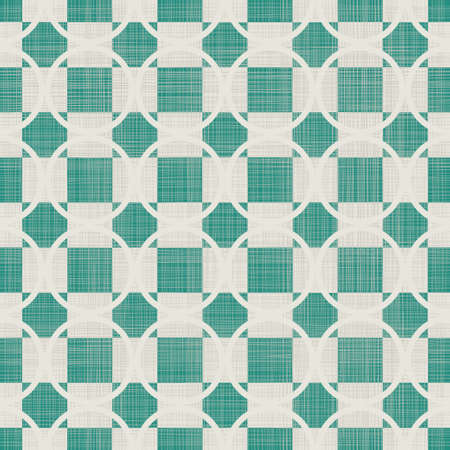 retro abstract seamless background with fabric texture in green and grey Vector