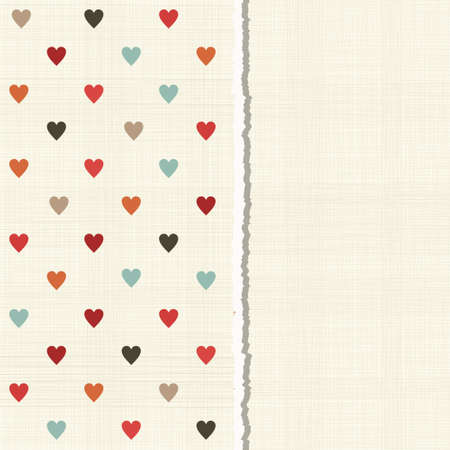lacerated: vintage card with colorful hearts on texture background Illustration