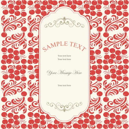 invitation card with eastern European traditional seamless pattern with berries and flowers Vector