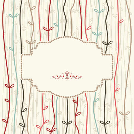 crimp: vintage frame on seamless colorful abstract pattern of pastel wavy vertical stripes. Illustration