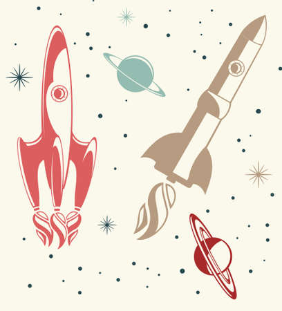retro colorful spaceship seamless pattern Vector