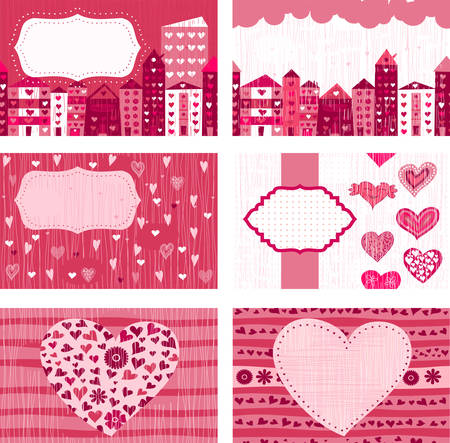 pattern corporate identity orange: set of valentine cards with pink doodle hearts Illustration