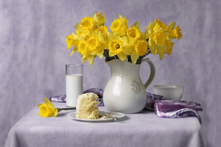 Daffodils and milk still life