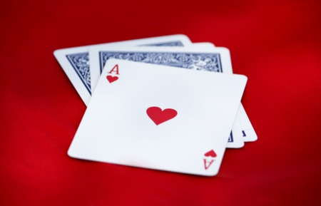 ace of hearts: Ace of hearts over red background