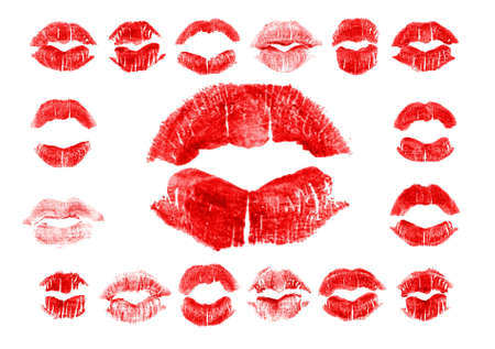 Set of 17 imprint of red lipstick. Silhouettes of red lips isolated on white background. Qualitative trace of real lipstick texture. Can be used as a decorative element for print or design.