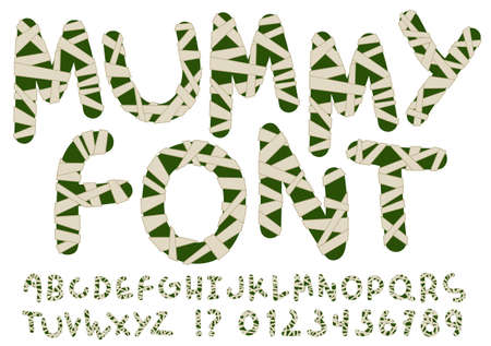 mummy: Unusual mummy style alphabet. Hand drawn dark green letters and numbers wrapped with beige bandages isolated on white background. Ideal font for a halloween party posters and invitations.