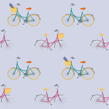 Perfect seamless pattern with colorful hand drawn city bikes.  イラスト・ベクター素材