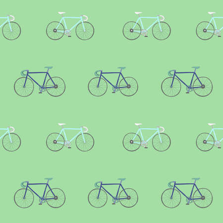 Perfect seamless pattern with colorful hand drawn racing bikes.