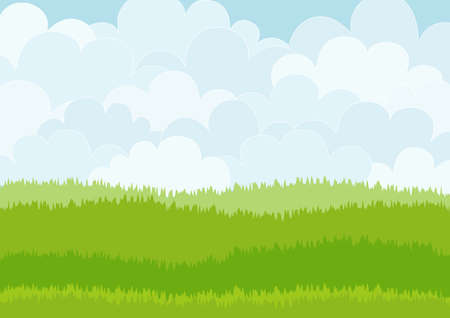 spring season: Beautiful simple cartoon meadow on sky background. Can be used as backdrop or print.