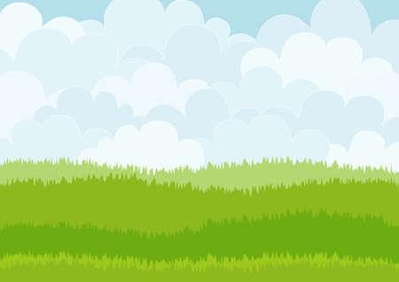 Belle prairie de bande dessinée simple sur le fond de ciel. Peut être utilisé comme toile de fond ou imprimer. Illustration