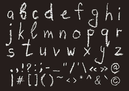 punctuation marks: Hand written chalk lowercase english alphabet and most important punctuation marks on black background. Real chalk texture. Illustration